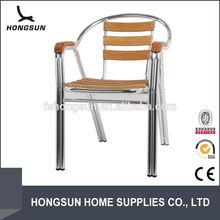Comfortable backrest aluminium frame dining wooden armrest chair