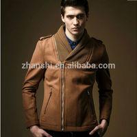 Winter Fashion Khaki Knitting Trim Men Wool Bomber Jacket With Zipper