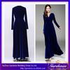 New Arrival High Quality A-line Floor Length V-neck Long Sleeve Royal Blue Pictures Velvet Dresses Women (ZX1050)