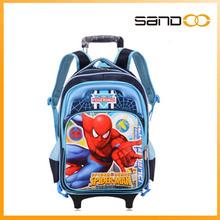 new arrival school trolley bag cartoon school bag hotsale spiderman trolley bag