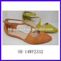 Sr- 14wf2329 mode flache neues modell frauen sandalen flache sandalen pu frauen weichen frauen schuhe sommer sandalen