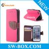 litchi Grain Leather Folio Wallet Bulk Case For iPhone 5 Case