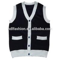 Kids knitting pattern sleeveless vest school uniform