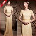 Coniefox 82000 elegante amarelo o- pescoço curto mangas aberto volta vestido de baile