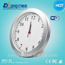 2014 New Product Battery Powered Wireless Internet Streaming AC Wall Clock Hidden Camera
