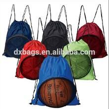 foldable drawstring bag with mesh pocket (DX-D224)