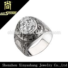 2014 fashion mens diamond skull wedding ring