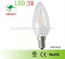 CE&ROHS High Luminance E27 filament candle bulb small led light