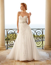 (MY2053CASA) Marry You Beaded Lace Appliques French Tulle Over Layers of Organza and Satin Bridal Dress China