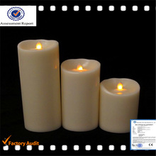 Moving Wick Mirage Flameless Unscented Wax Pillar Candle with Auto Timer - Cream 8 X 20cm