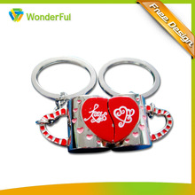 High Quality Most Popular Promotion Gift & Valentine's Day Souvenir Printed & Enamel Double Lover Metal Key Chain