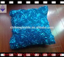 100% polyester satin rose ruffle decorative cushions