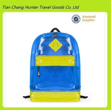 lovely transparent candy color shopping backpack, blue school bag for students