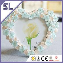 Pink & Blue Flower Decorated Heart Shape Wedding Mini Photo Frame