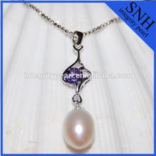 New design of purple zircon inlaid 925 sterling sliver pearl pendant