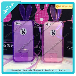 Tpu material crystal rabbit phone case for iphone 5s, with long chain