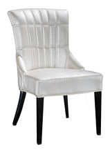 Elegant White Leather Upholstered Metal Restaurant Dining Chairs QL8976