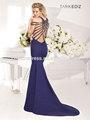 sexy frisada de cristal tarik ediz 92413 vestido azul royal alta gola de cetim das senhoras desgaste do partido do vestido longo meninas vestidos de festa 2014