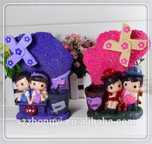 Multi-function resin lovely children windmill pen holder with music box