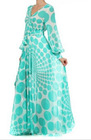 women summer plus size long sleeve maxi chiffon dress mint polka dot full sweep wrap arabic evening gown dress