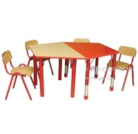 kids school desk, wooden chair and tables set, wood double sided desk