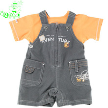 2014 100% Cotton Wholesale Lovely Children Tee Shirts with suspender pant