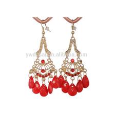 2014 fashion red gemstone self piercing hoop earrings