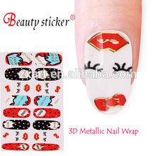 Ladies Sexy Lip/Eyes Metallic 3D Nail Sticker