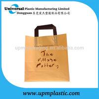 Fashionable flexo printing block bottom black flat tape handle plastic bag