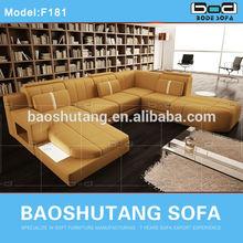 2014 hot corner split yellow leather sofa f181