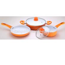 3pcs aluminum ceramic kitchenware set with glass lid