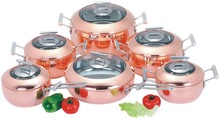 2.5mm Tri-ply Copper Cookware Set With Apple Shape For Wholesale