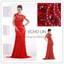 De manga curta sexy back abra frisada lace red mãe do vestido da noiva elegante figura cheia vestidos 1069