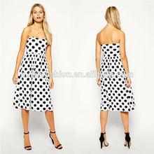 2014 wholesale fashion polka dot midi pleated dresses below the knee