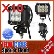 10X 4INCH 18W CREE LED WORK BAR 1260LM LIGHT OFFROAD LAMP 4X4 4WD SPOT FLOOD BEAM