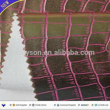 Metallic lustre crocodile skin pu artificial leather for handbags