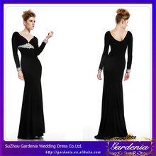 Black Color V-neck Long Sleeve Velvet Floor Length Abaya Long Sleeve Evening Dress