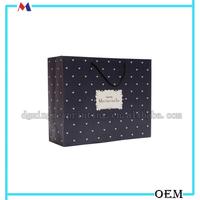 Matt lamination black paper bag with logo print