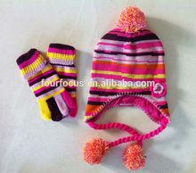 child stripe gloves and beanie set