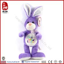 new design plush purple rabbit toys manufacture