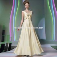 Dorisqueen MOQ 2pc wholesale elegant stain long evening dress yellow 2014 Free Shipping to USA