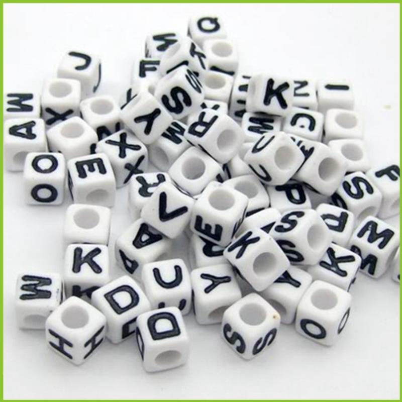 10mm küp şeklinde plastik Mektup boncuk!! Akrilik alfabe harfinden akrilik boncuk diy yapımı bilezik!!!!