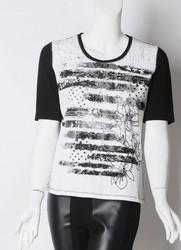 ladies high quality slim fashion printed t-shirt korea design