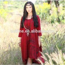 Jiqiuguer latest design plus size long asymmetrical hem tie dye printed round neck 3/4 sleeve new ladies dress