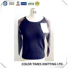 Ladies cotton wool sequin knit top