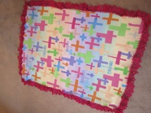 cross print beautiful handmade polar fleece & crochet baby blanket