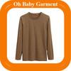 wholesale men's brown o neck 180g plain blank Long sleeve t shirts Factory