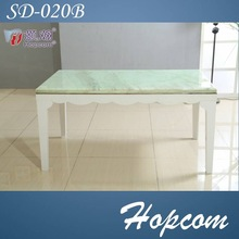 Hopcom Shallow Green Wavy sideboard Wood and Marble Dining Table