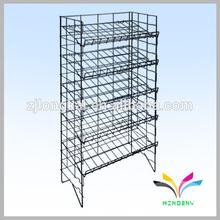 Single tier black supermarket metal display 4 way gondola display shelf
