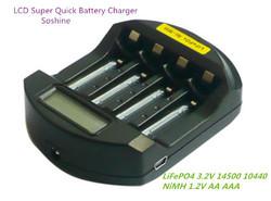 Soshine LiFePO4 14500/10440 NiMH AA/AAA LCD Quick Battery Charger(USB 5V+DC 12V) NI-MH aa aaa battery charger